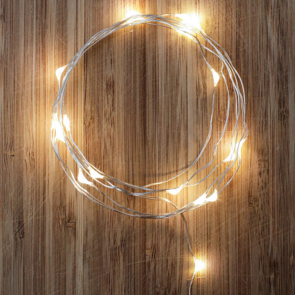 Lichterkette Silver String Light - 20 LED Leuchtdioden - Batteriebetrieb