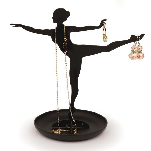 Ballerina Schmuckständer mit Ablageschale von Kikkerland Design. Schmuckhalter aus pulverbeschichteten Metall in schwarz.