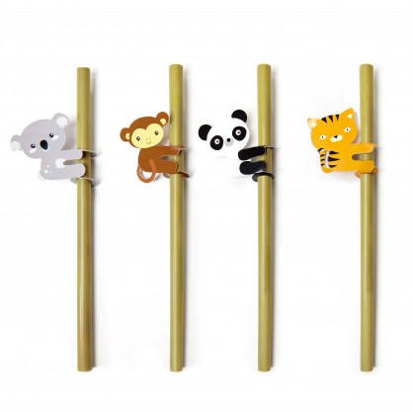 Tierisch gut! Die Bambus Strohhalme Animal von Kikkerland Design. 4 Trinkhalme aus Bambusholz + Reinigungsbürste. Jeder Stohhalm mit Tier-Marker!