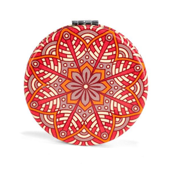 Klappbarer Taschenspiegel mit rotem Mandala Motiv von Kikkerland Design - 1 Spiegelseite mit 2fach Vergrößerung.