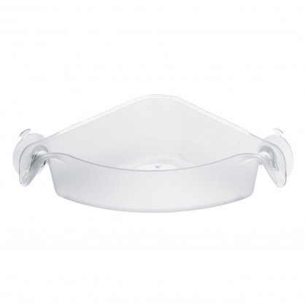 Eckablage für Dusche. Duschablage mit Saugnäpfen - Kunststoff transparent. Badablage Eckutensilo BOKS von Koziol Design.