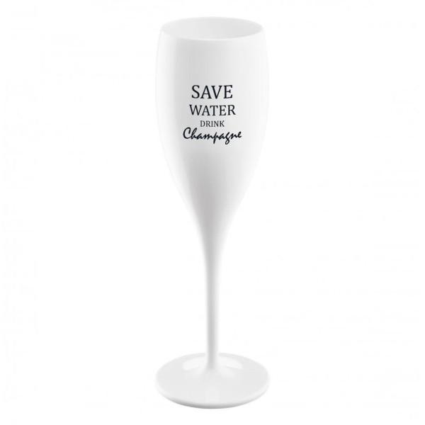 Weißes 100 ml Sektglas SAVE WATER DRINK CHAMPAGNE aus Superglas. Das Kunststoff Sektglas stammt aus der Koziol Serie CHEERS No.1