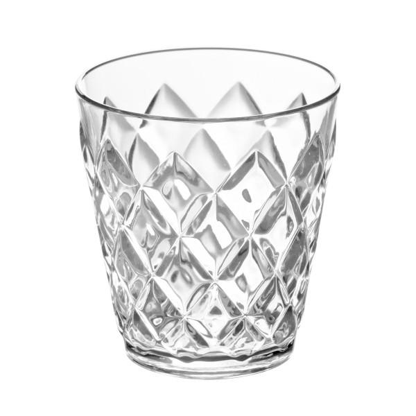 Transparenter 250 ml Becher aus glasähnlichem Kunststoff mit Facettenschliff von Koziol. Trinkbecher aus der Serie CRYSTAL S.