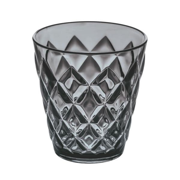 250 ml Trinkbecher CRYSTAL in transparent anthrazit mit Facettenschliff von Koziol. Der Becher aus Kunststof