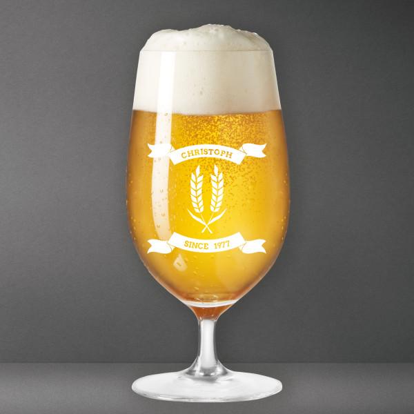 Bierglas mit Gravur ÄHREN, Name + Geburtsjahr