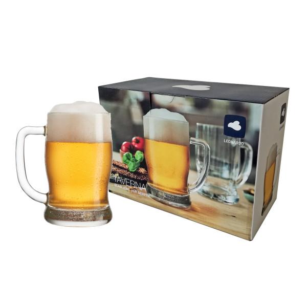 Bierseidel Set TAVERNA 500 ml vom Qualitätshersteller LEONARDO. 2 Bierkrüge mit Henkel im Geschenkkarton.