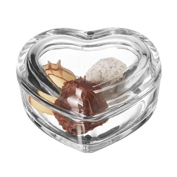 Perfekt für liebgewonnene Kleinigkeiten: die Schmuckschatulle HEART aus Glas LEONARDO Design.