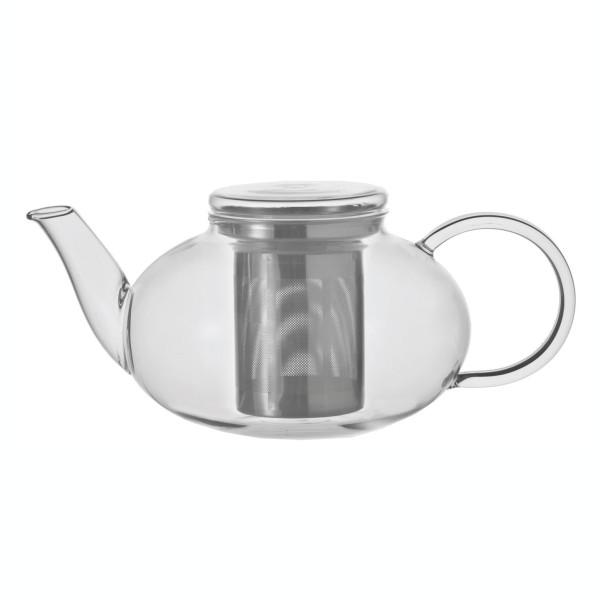 Bauchige Teekanne aus Glas mit Teefiltereinsatz aus Edelstahl und Glasdeckel. Aus der Serie MOON von Leonardo Design.
