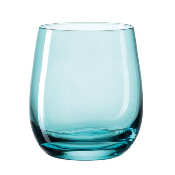 Farbiges Windlicht / Trinkglas SORA blau. Bauchiges Glas bunt transpartent - Made in Germany by Leonardo Design.