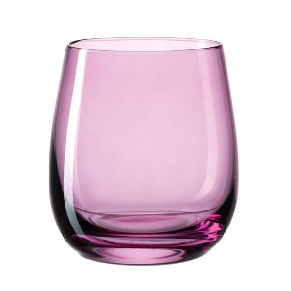 Farbiges Windlicht / Trinkglas SORA lila. Bauchiges Glas violett transpartent - Made in Germany by Leonardo Design.