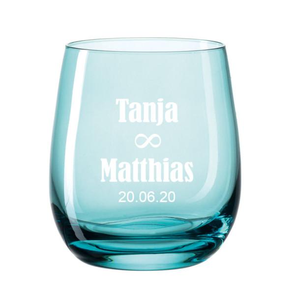 Windlicht graviert - Hochzeit unendlich - Personalisierter Teelichthalter aus Glas blau - Windlicht türkis mit Namensgravur - graviertes Windlicht. Hochzeitsgeschenk.