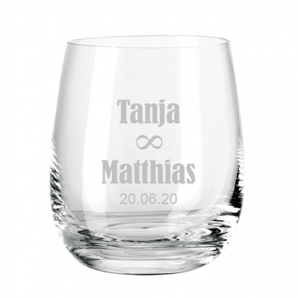 Windlicht graviert - Hochzeit unendlich - Personalisierter Teelichthalter aus Glas transparent - Windlicht mit Namensgravur - graviertes Windlicht. Hochzeitsgeschenk.