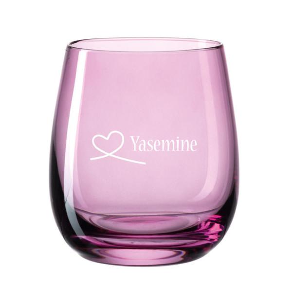 Personalisiertes Windlicht graviert - Herzschleife - Herz - Love. Violettes Teelichthalter aus Glas von Leonardo mit Gravur.