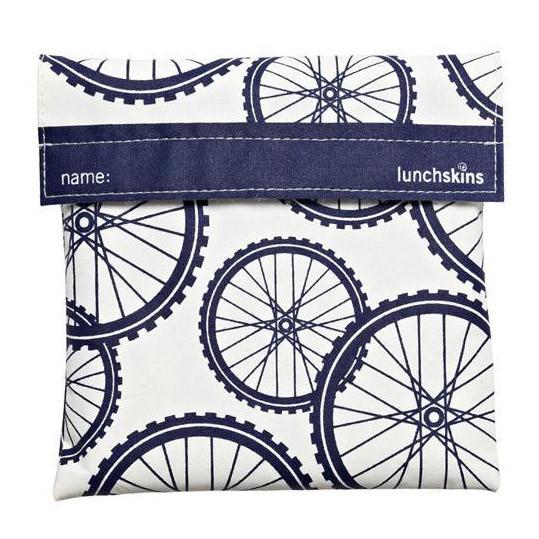 Lunchskin Tüte - wiederverwendbare Sandwichtüte aus beschichteter Baumwolle mit Klettverschluss - Modell mit Fahrradreifen (navy bike)