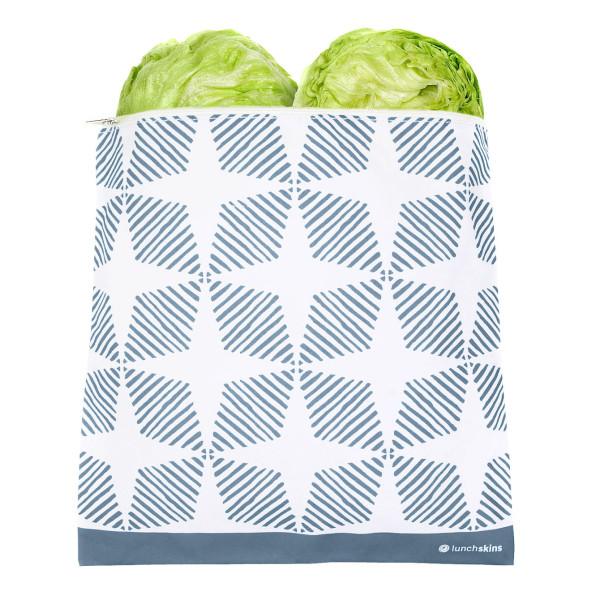 Wiederverwendbare XXL Lunchtüte mit Reißverschluss. Großer Sandwichbeutel ZIP GALLON von lunchskins. Modell blue geometric.