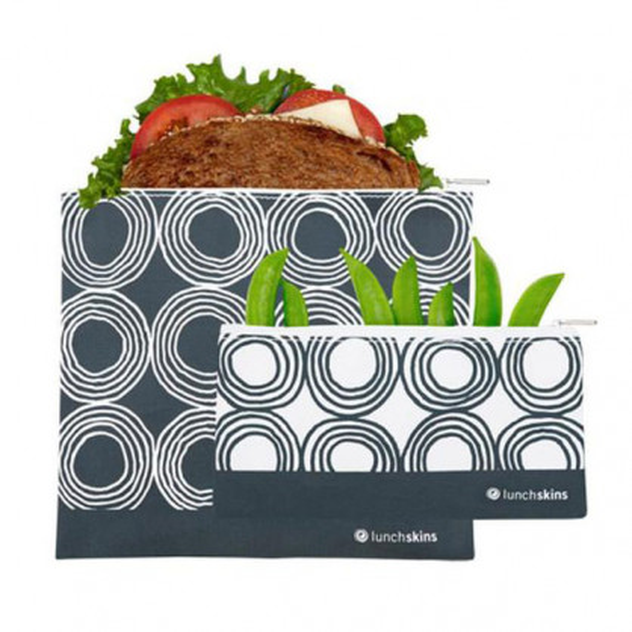 Sandwich- und Snacktüte Zip mit Reißverschluss - CHARCOAL CIRCLES - 2er Set - wiederverwendbare Lunchtüten.