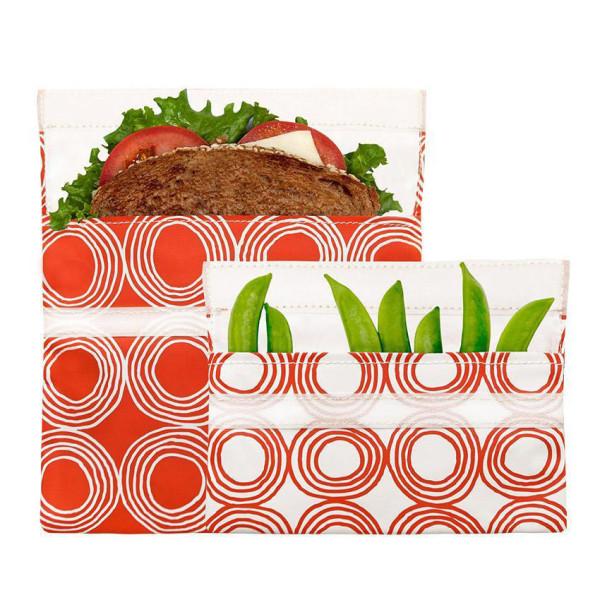 Orange Lunchtüten / Sandwich Bags SUNSET CIRCLES mit Klettverschluss, 2er-Set. Nachhaltig, wiederverwendbar ...