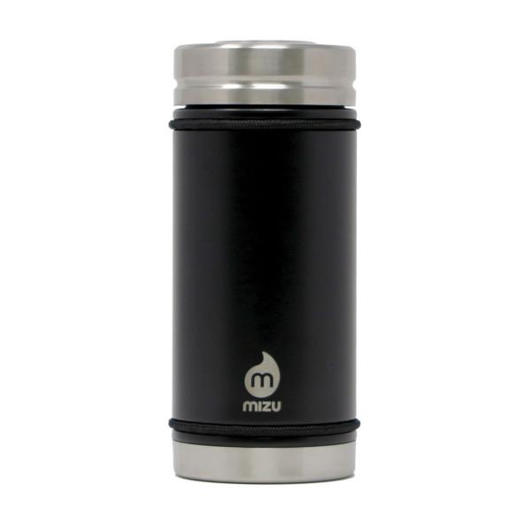 Thermobecher V5 mit 450 ml Füllvolumen von MIZU Design. BPA-freier, auslaufsicherer Thermobecher aus Edelstahl in schwarz.