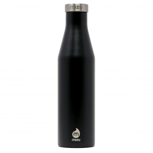 Thermosflasche Slim S6 Edelstahl 600 ml von MIZU, Enduro schwarz - Front.