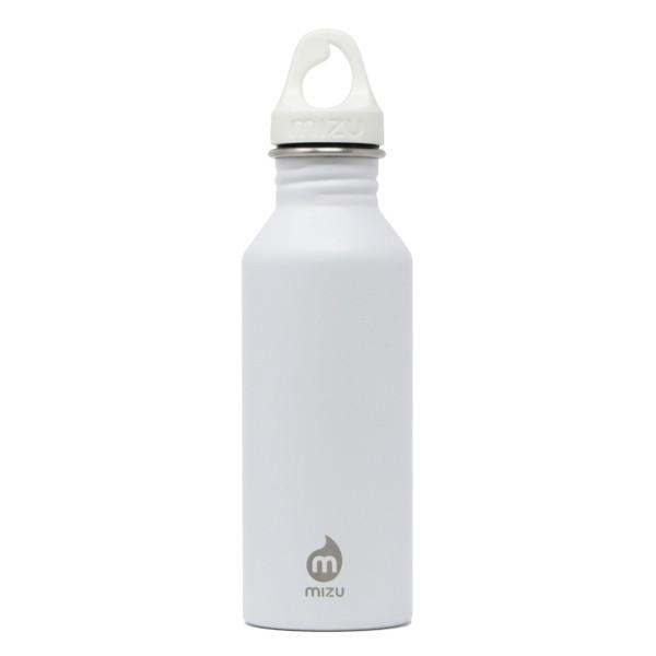 Weiße MIZU Trinkflasche M5 aus Edelstahl. Modell Enduro mit 500 ml Volumen - Ansicht: Front.