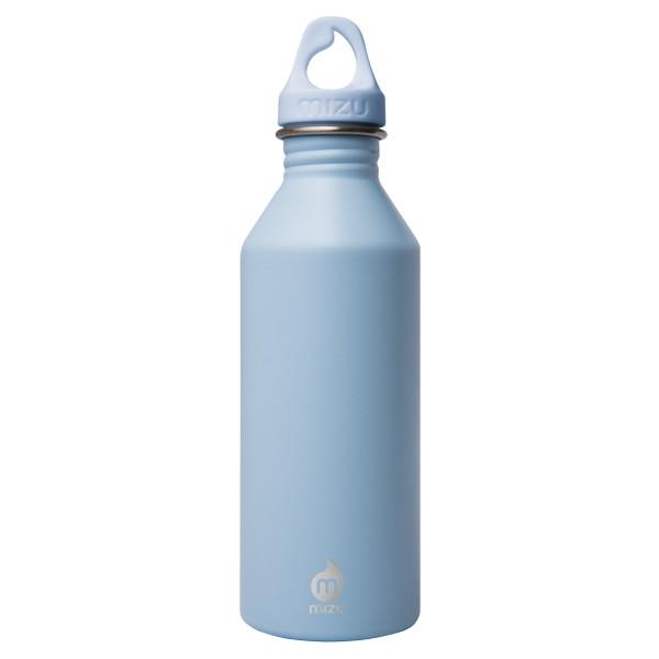 Trinkflasche M8 von MIZU. Modell Enduro in ice blau. Frontalansicht mit Logobranding. Flasche M8 aus Edelstahl von MIZU Design.