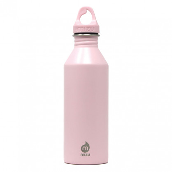 Enduro M8 von MIZU: rosa Trinkflasche aus Edelstahl mit 750 ml Volumen. BPA-frei, geschmacks- und geruchsneutral. Schraubverschluss mit Tragering.
