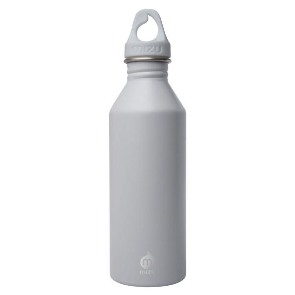 Hellgraue MIZU 800 ml Enduro Trinkflasche M8 aus Edelstahl - Front.