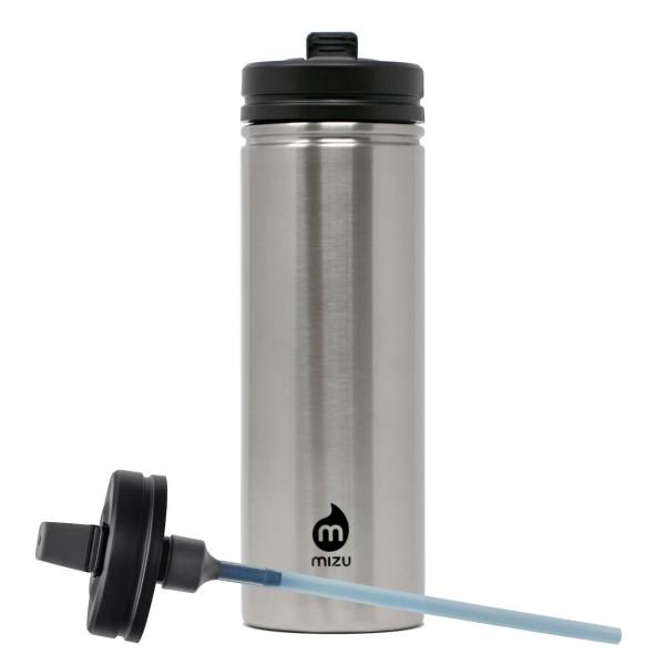 Große Trinkflasche M9 aus Edelstahl mit Strohhalm-Deckel von MIZU Design. Edelstahlflasche 360 Straw Lid steel.
