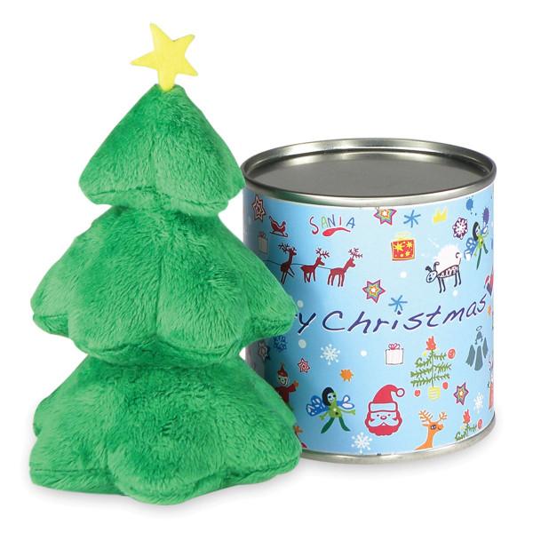Albero, der kleine Plüsch-Weihnachtsbaum aus der Dose. Blechdose mit Schriftzug Merry Christmas mit Tannenbaum aus Plüsch.