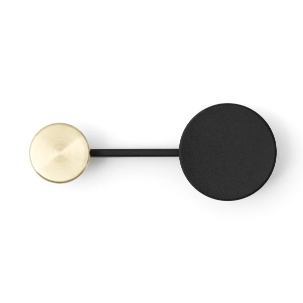 Kleiderhaken / Wandhaken Afteroom von MENU Design, schwarz-gold (messing) - Ansicht quer