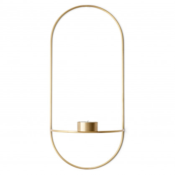 Teelichthalter Wandkerzenhalter POV oval, brass - gold