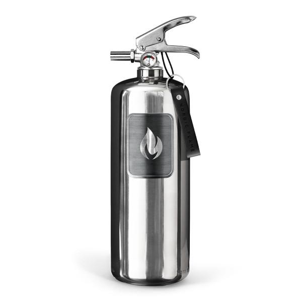 nordic flame Design Feuerlöscher Edelstahl, steel edition. Design Feuerlöscher 2 kg mit Wandhalterung. Moderne Brandbekämpfung für ihr Zuhause.