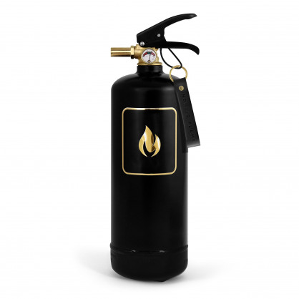 Design Feuerlöscher schwarz. Design Feuerlöscher 2 kg mit Emblem gold und Wandhalterung. Moderne Brandbekämpfung von nordic flame.