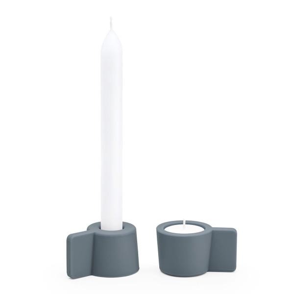 Kerzenständer und Teelichthalter Silly 2er-Set, dunkelgrau