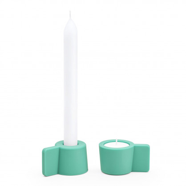 Kerzenständer und Teelichthalter Silly 2er-Set, mintgrün