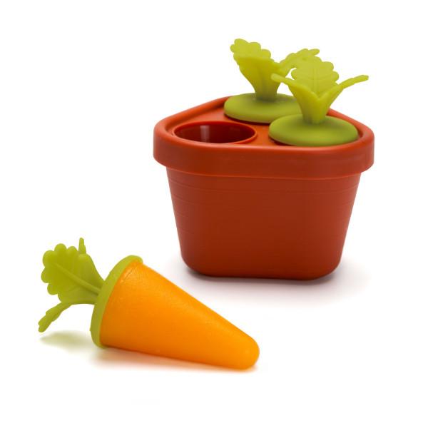 Karotten Eisformen von Peleg Design - Stieleisform: Töpfchen mit Kartotten - Eiscremeformen für selbstgemachtes Eis.