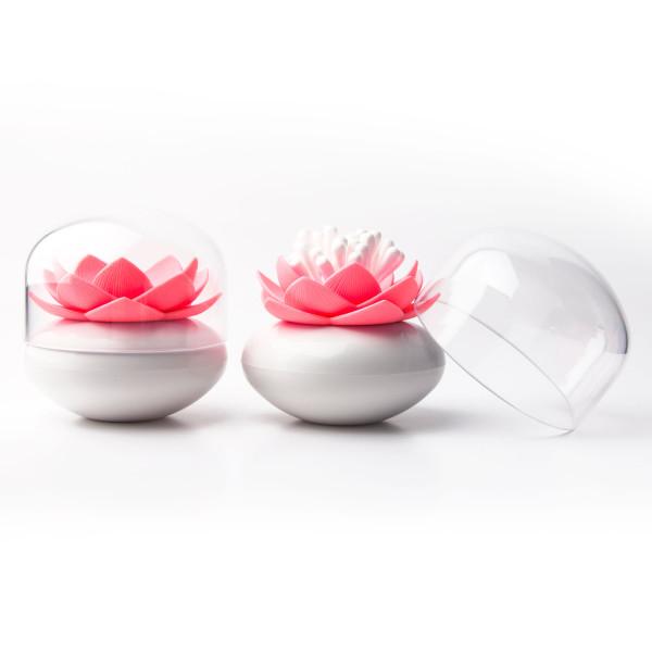 Lotusblüten-Behälter - Lotus Cotton Bud pink - von Qualy Design: schöne Aufbewahrung für Wattestäbchen.