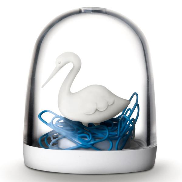 Büroklammern Spender, Swan in the Pond