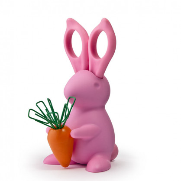 Büroklammernhalter inkl. Schere Desk Bunny pink