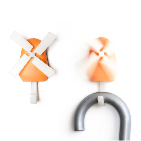 Garderobenhaken Windmühle orange Qualy Design. Design Wandhaken Windmühle - Wall Hook Windmill.