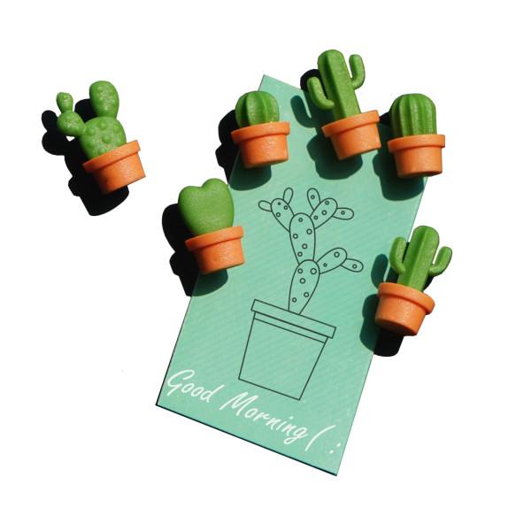 Kaktus Magnete CACNET 6er-Set, orange-grün von QUALY Design. Mini Kakteen Magnete aus Kunststoff!