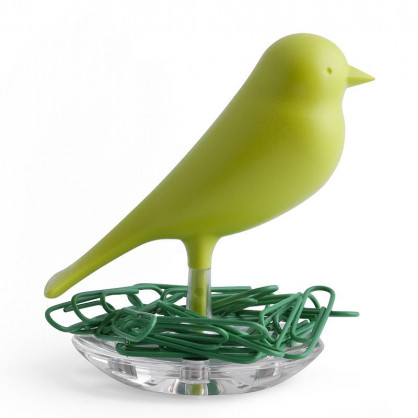 Magnethalter / Büroklammernhalter Nest Sparrow grün