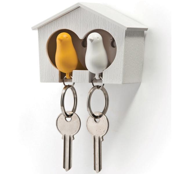 Schlüsselanhänger Duo Sparrow weiß/gelb