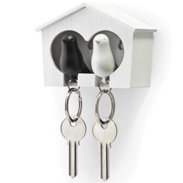 Schlüsselanhänger Duo Sparrow weiß/schwarz