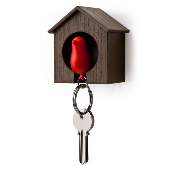 Schlüsselanhänger Sparrow braun/rot