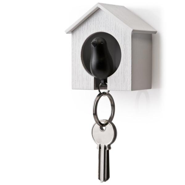 Schlüsselanhänger Sparrow weiß/schwarz