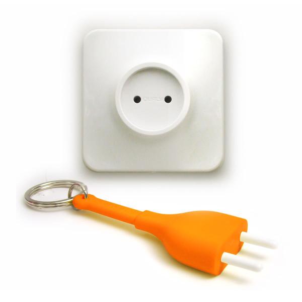 Schlüsselanhänger Steckdose Unplug orange
