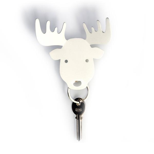 MOOSE von Qualy Design: magnetischer Schlüsselhalter / Schmuckhalter Elch in weiß.