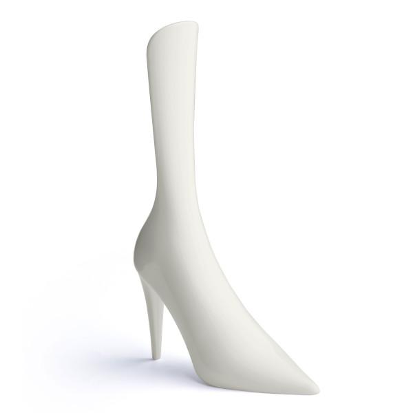 Weißer High Heels Schuhlöffel CINDY von Qualy Design. Origineller Schuhlöffel Stöckelschuh. Design Schuhanzieher.
