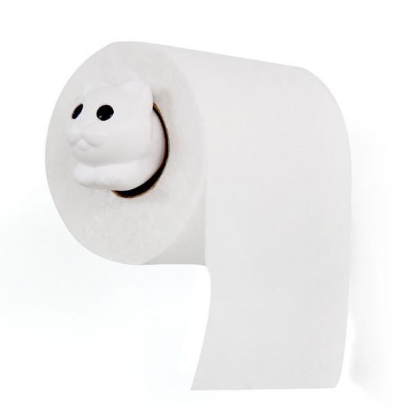 Weißer Toilettenpapierspender im Katzen-Look: ROLL MEO von Qualy Design. Juliet Katzen WC-Rollenhalter hier kaufen!